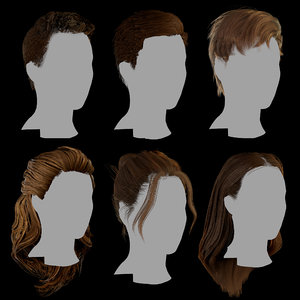 3D hair layered low-poly -