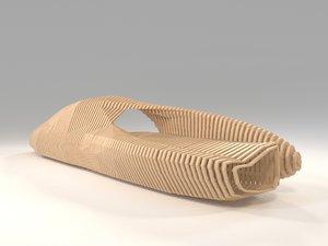 wooden parametric bench snakes 3D model