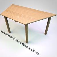 trapezoid table 120 cm x 60cm x 53 cm