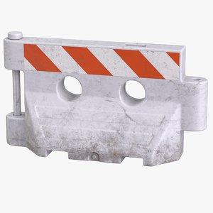 3D model plastic barrier white