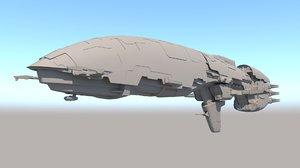 sci fi transport ship 3D model