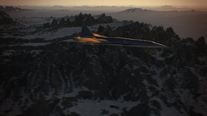 3D model futuristic supersonic airplane