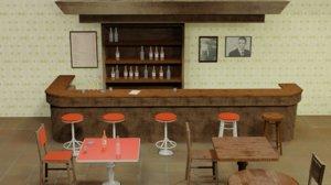 old bar counter 3D model