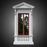 Classical window with pedestal and pointed pediment