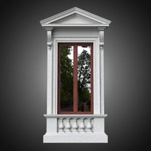 3D classical window frame pedestal