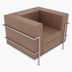 3D model le corbusier chair lc2