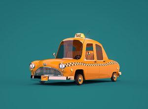 cartoon taxi car 3D