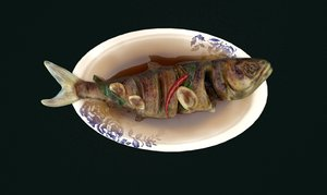 3D model asia food braised fish