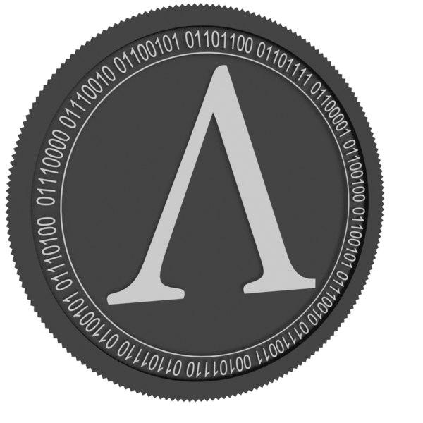 3D model ampleforth black coin