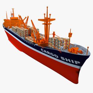 3D container cargo ship model