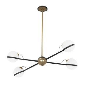 chandelier globe brass 3D model