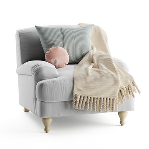3D rose fabric armchair