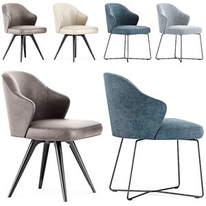 minotti leslie dining chairs 3D model