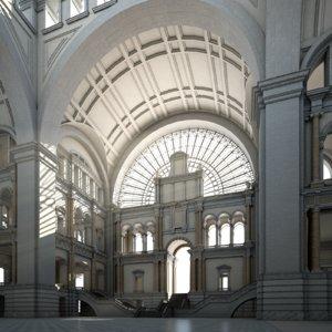 hallway temple palace 3D
