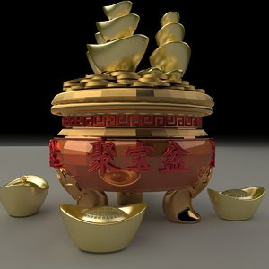3D chinese gold ingot pot