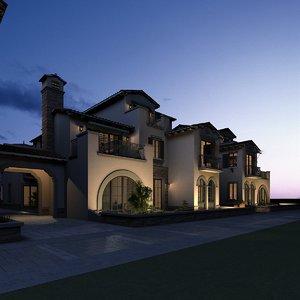 3D exterior scene villa