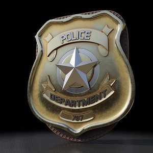 3D model police badge photorealistic pbr