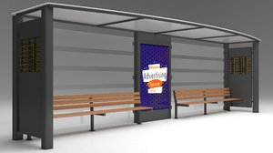 modeled bus stop passenger 3D model