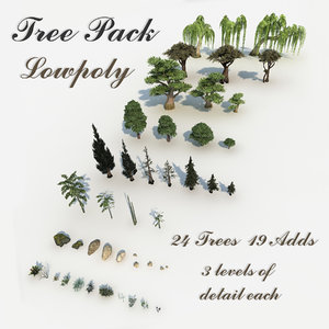 3D pack pebbles small plants tree