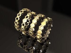 hexagon stackable ring set 3D model