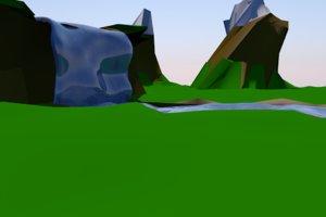 3D landscape waterfall
