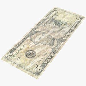 dollar bill crumpled model