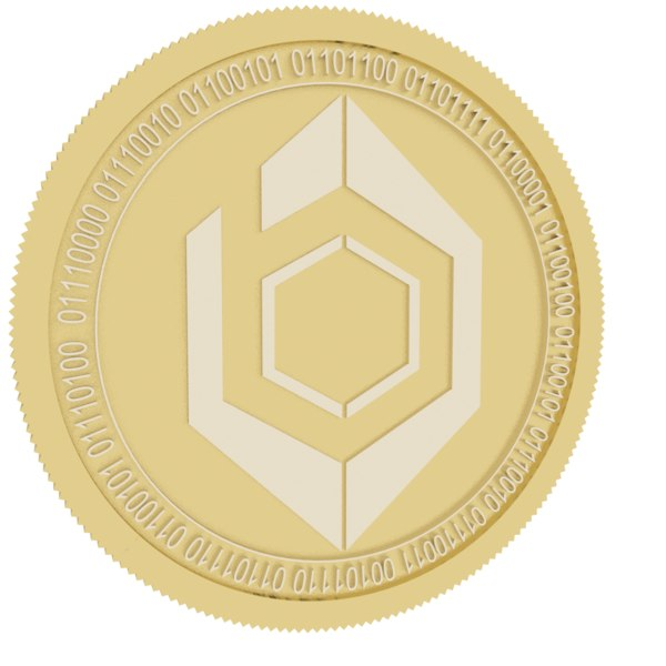 bionic crypto gold coin 3D model