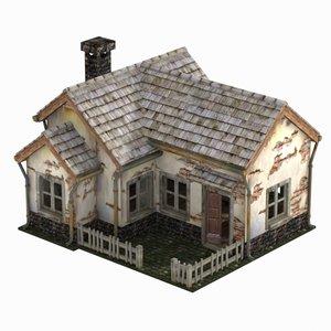 3D model toon house abandoned