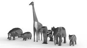 animal statues metal 2 3D
