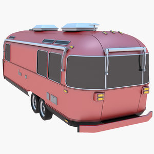 airstream trailer red 3D model