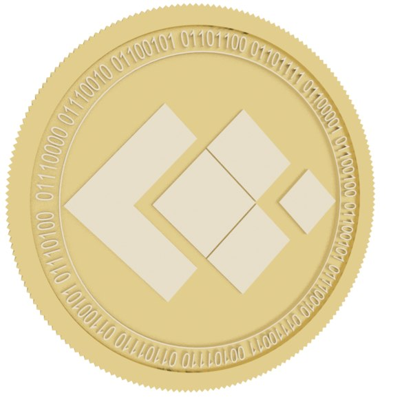3D blocktrade gold coin model