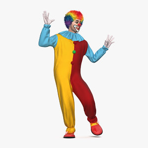 3D circus clown costume dancing model