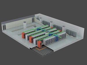 3D computer server room 2 model
