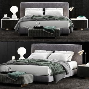 3D model minotti curtis bed 2