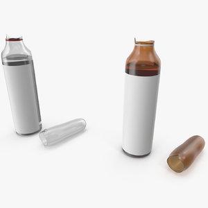 3D broken injection ampoules vial model