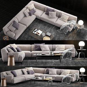 poliform tribeca sofa coffee table 3D