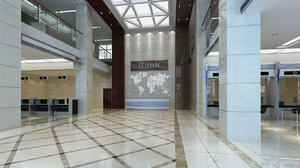 bank lobby interior file 3D