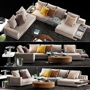 minotti white sofa 3D model