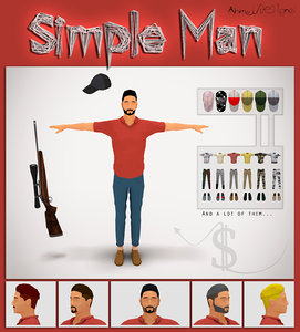 simple man rigged 3D model