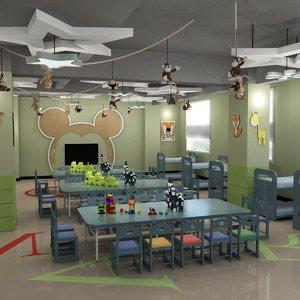 3D kindergarten classroom playground director