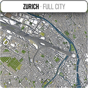 city zurich surrounding - 3D