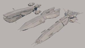 3D sci fi spaceships