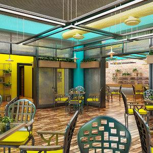 3D cafe interior