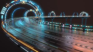 modular sci-fi highway 3D