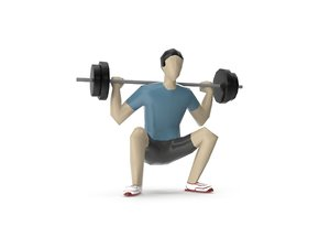 3D model man weight lifting