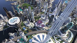 3D future city futuristic architecture