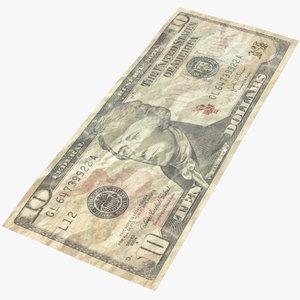 3D dollar bill crumpled