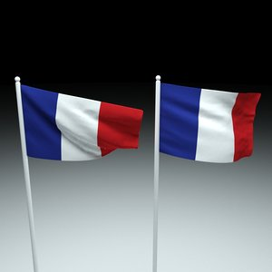 3D french flag model