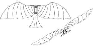 3D ornithopter leonardo da vinci model