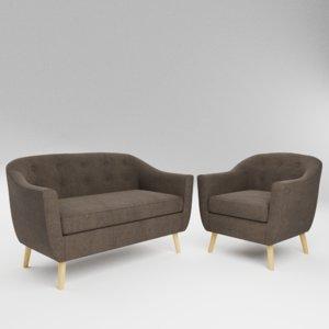 3D set sofa chair 5